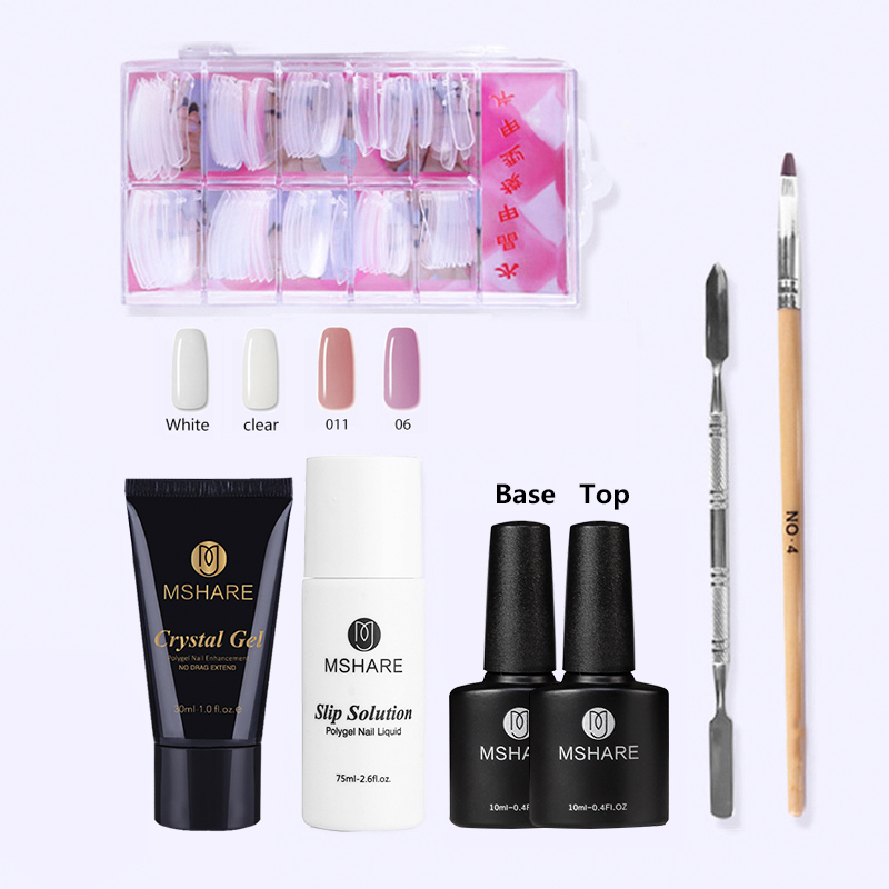 MSHARE Crystal Gel Kit Nail Poly Gel Set Nails Polygel Kits Quick Building Builder Extension Gel UV LED Lacquer Brush Tips mshare poly gel set nails polygel kit quick building builder extension gel camouflage uv led lacquer brush nail tips