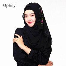 Women Scarf Muslim Hijab Scarf Head Wrap Embroidery Floral Scarves With Crystal Muslim Head Scarf Hijab Chiffon Silk Shawl China