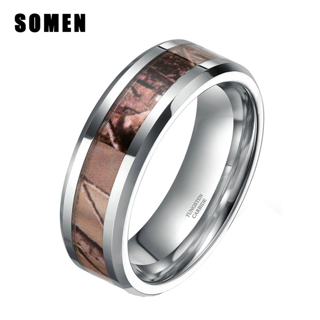6mm Fashion Women Camo Tungsten Carbide Ring Wedding Band Autumn Leaves Camouflage Inlay Rings Comfort Fit