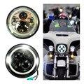 """Round 7 """"45 W Ângulo Daymaker Com DRL Olhos de Halo Projector LED Lâmpada Do Farol Da Motocicleta para Harley Davids harley levou farol"""