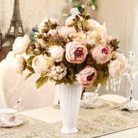13 köpfe Bouque Künstliche dekoration Blumen silk blume Europäische Herbst Lebendige Pfingstrose Gefälschte Blatt Hochzeit Home Party Dekoration