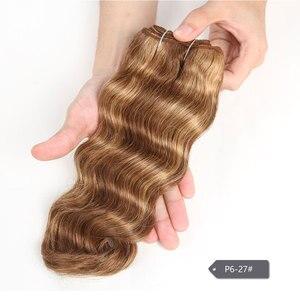 Image 3 - Гладкие цветные волосы для наращивания, двойные нарисованные натуральные волнистые волосы, бразильские волнистые натуральные кудрявые пучки волос Remy, человеческие волосы