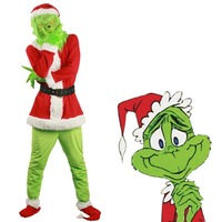 Halloween Santa Grinch Cosplay Costume How the Grinch Stole Christmas Suit Outfits Adult Drop Ship