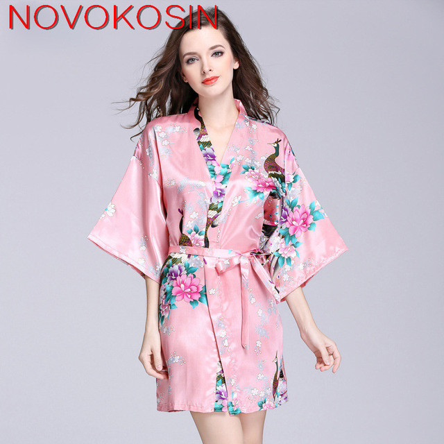 YT22 2018 Fashion Women Spring Summer Printed Faux Silk Sleeping Gown Half  Sleeves Mini Dress Bathrobe Sexy Sleeping Robes abfc0333f