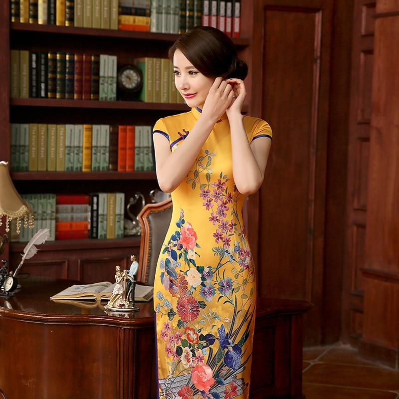 SexeMara New Arrival Designer Yellow Womens Silk Satin Long Cheongsam Elegant Qipao Dress Vestido Mujer Flower Size S M L XL XXL