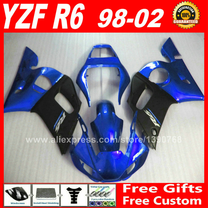 Fairing kit for 1998 - 2002 YAMAHA R6 1999 2000 2001  bodywork  blue matte black 98 99 00 01 02 fairings kits N6S2