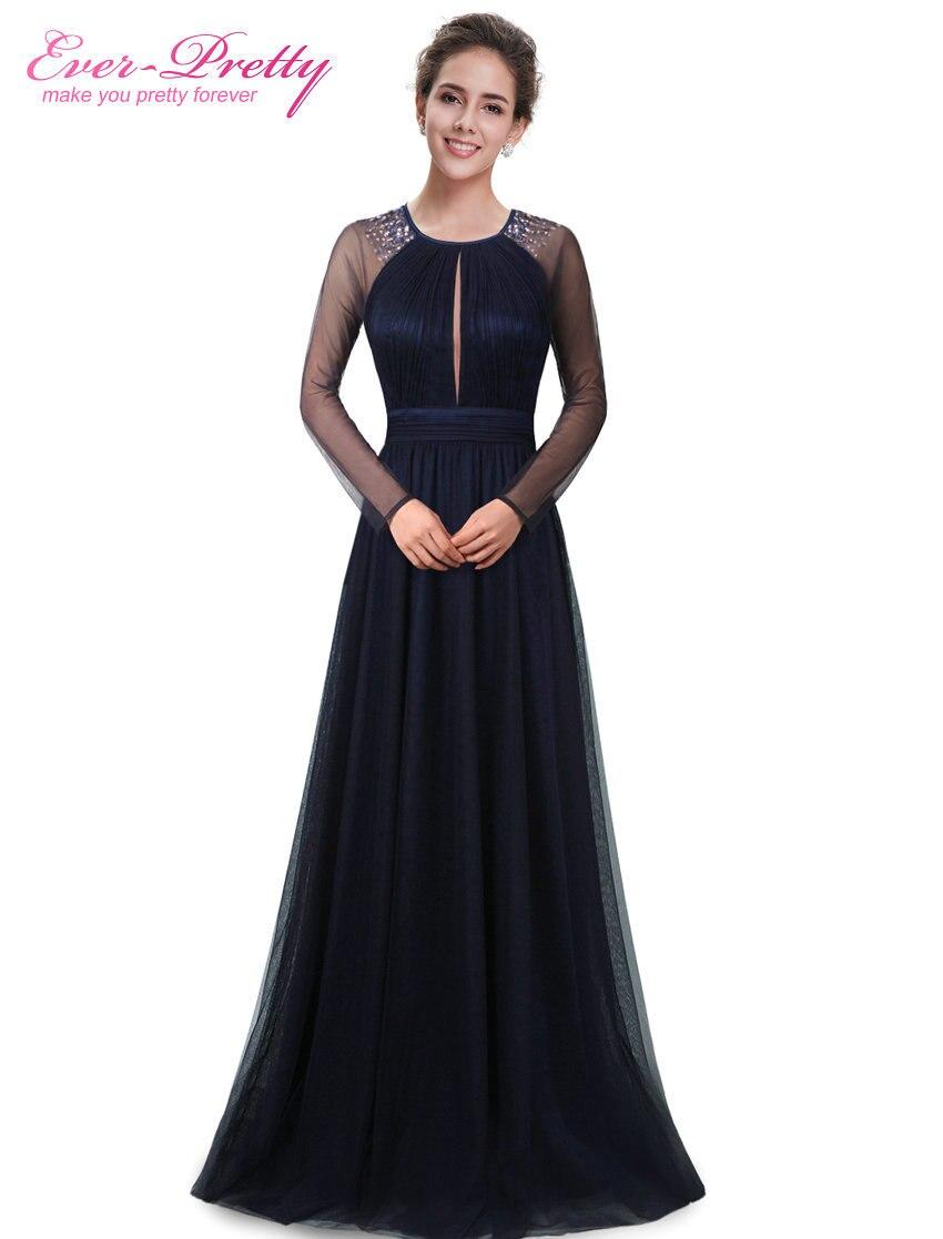 Evening Dress Ever Pretty HE08553NB Women Dress Navy Blue Round Neck Robe De Soiree 2017 Vestido De Festa Longo Evening Dresses