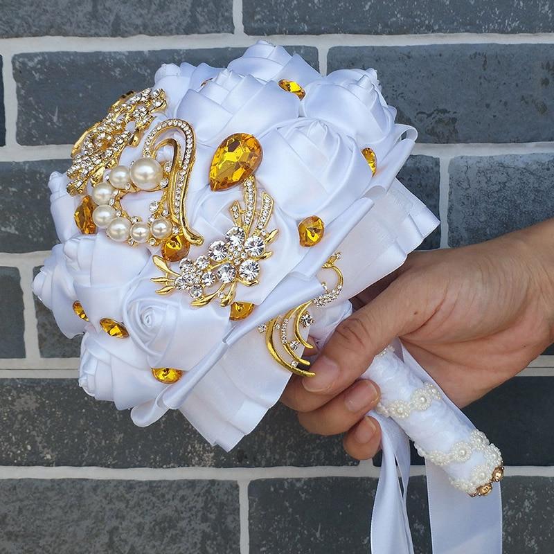 WifeLai-A arany bross menyasszonyi kéz gazdaság virág csokrok - Esküvői tartozékok - Fénykép 5