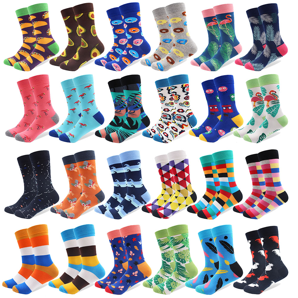 2019 Newest Colorful Combed Cotton Happy Socks Donut Avocado Flamingo Leaves Men Sock Novelty Skateboard Crew Casual Warm Socks