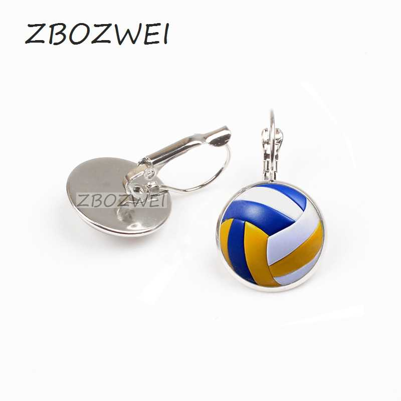 ZBOZWEI 2018 hombres Vintage voleibol pendiente antiguo con collar deportes pelota voleibol jugador regalo