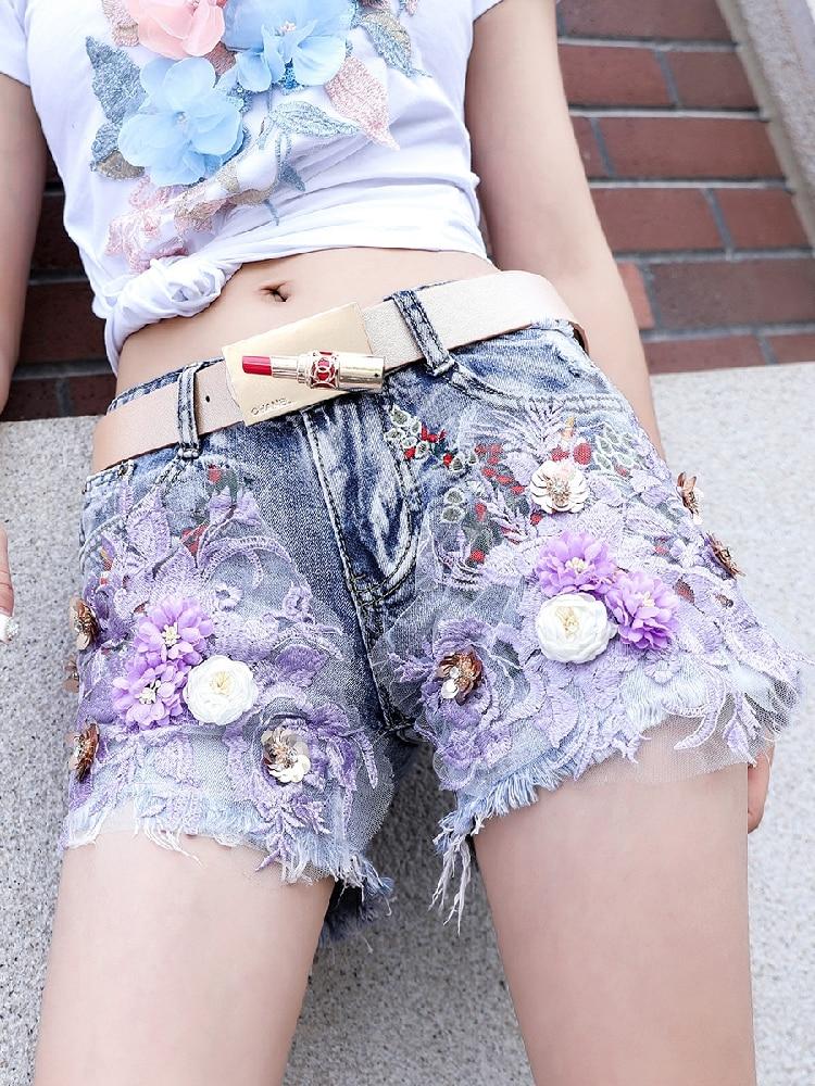 Denim Shorts Women Summer INS Fashion Denim Shorts Women's New Embroidery Flowers Body Broad Legs Trousers Jean Shorts