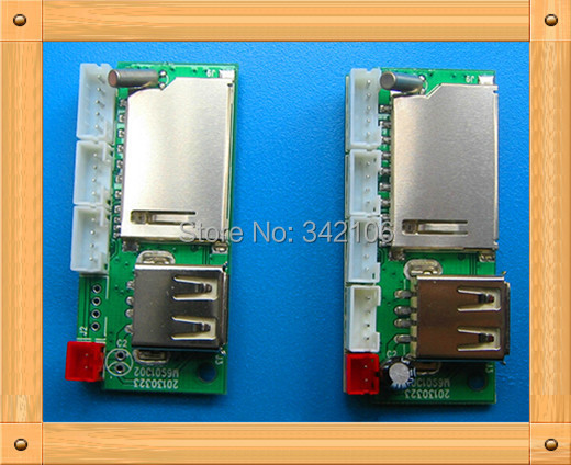 Free Shipping!!! 5pcs mp3 decoder board / WAV MP3 module / can be inserted SD card / U disk player MP3 / band amplifier