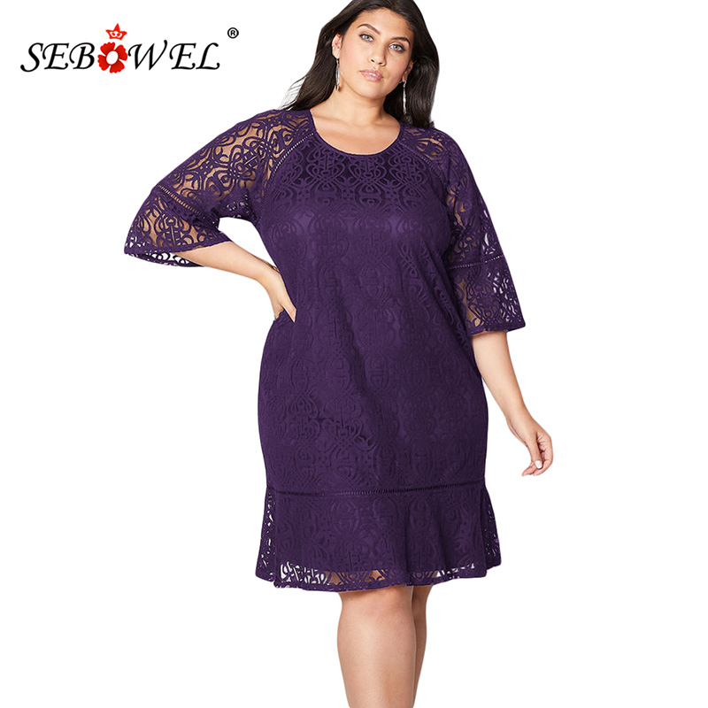 91881554d39 SEBOWEL Plus Size Sexy Black Lace Hollow Out Party Midi Dress Women Elegant  Three Quarter Sleeve Crochet Lace Overlay Dress 5XL-in Dresses from Women s  ...