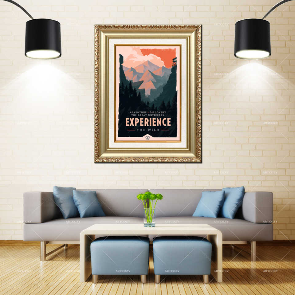 Artcozy Golden Frame Abstract olly moss firewatch Waterproof Canvas Painting