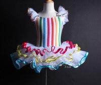 Gökkuşağı şerit tutu dans kostüm modern caz yetişkin çocuklar Bale Dans Balerin Kız bale elbise leotard