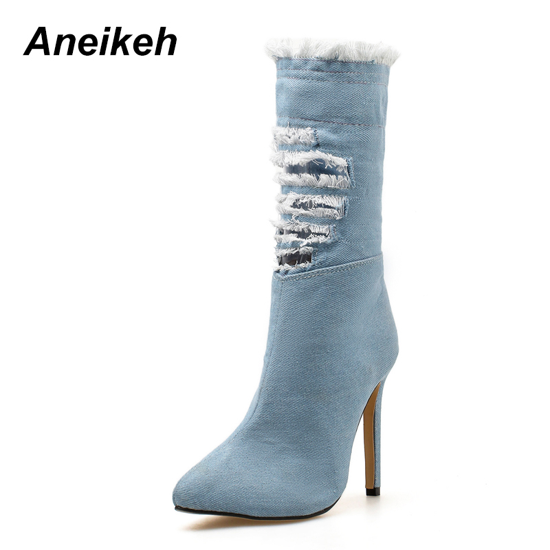 Aneikeh Women Ankle Boots 2018 Broken Holes Sexy Pointed Toe High Thin Heel Ripped Denim Women Boots Sping/Autumn Shoes chic mid waist button design ripped denim shorts for women