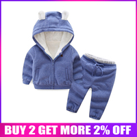 BibiCola new autumn winter boys girls clothes sets children plus velvet suits casual warm thick outfits tracksuit clothing
