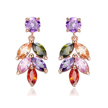 SLBRIDAL Rose Gold Fashion Jewelry Bijoux Anti-allergic Girls Colorful Cubic Zirconia Earring Charm Drop Women