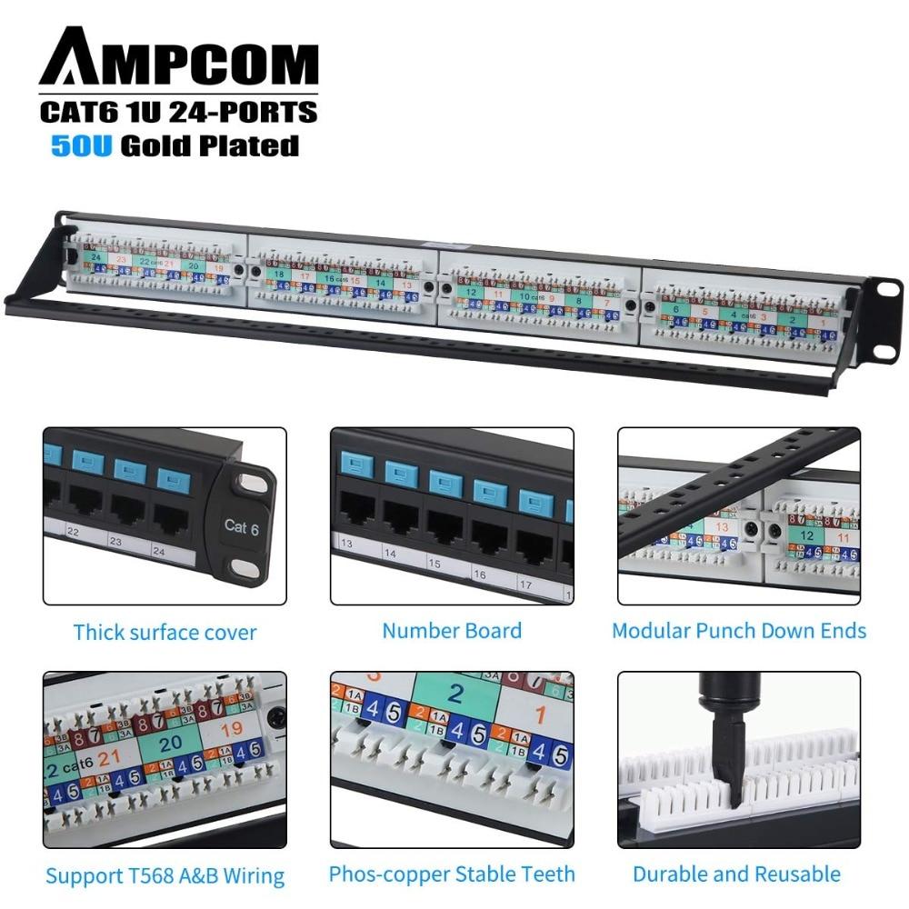 AMPCOM серии Supreme CAT6 патч Панель, 50U, литый золотом, 1U 24-Порты и разъёмы в стойку или крепёж для заделки патч Панель