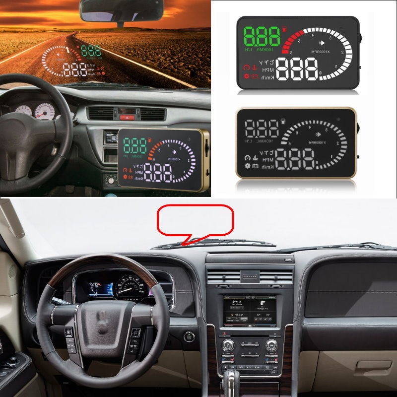 Liislee Car HUD Head Up Display For Lincoln Navigator Continental MKZ MKX Cent - Safe Screen Projector / OBD II Connector liislee car hud head up display for subaru forester xu impreza legacy outback safe screen projector obd ii connector