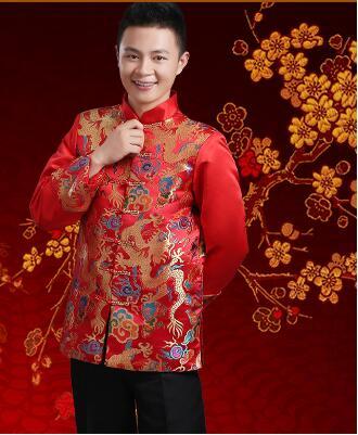 Hiina traditsiooniline riietus pulmarõivas riietus pruut riided meeste tang ülikond vintage seista krae tunika ülikond