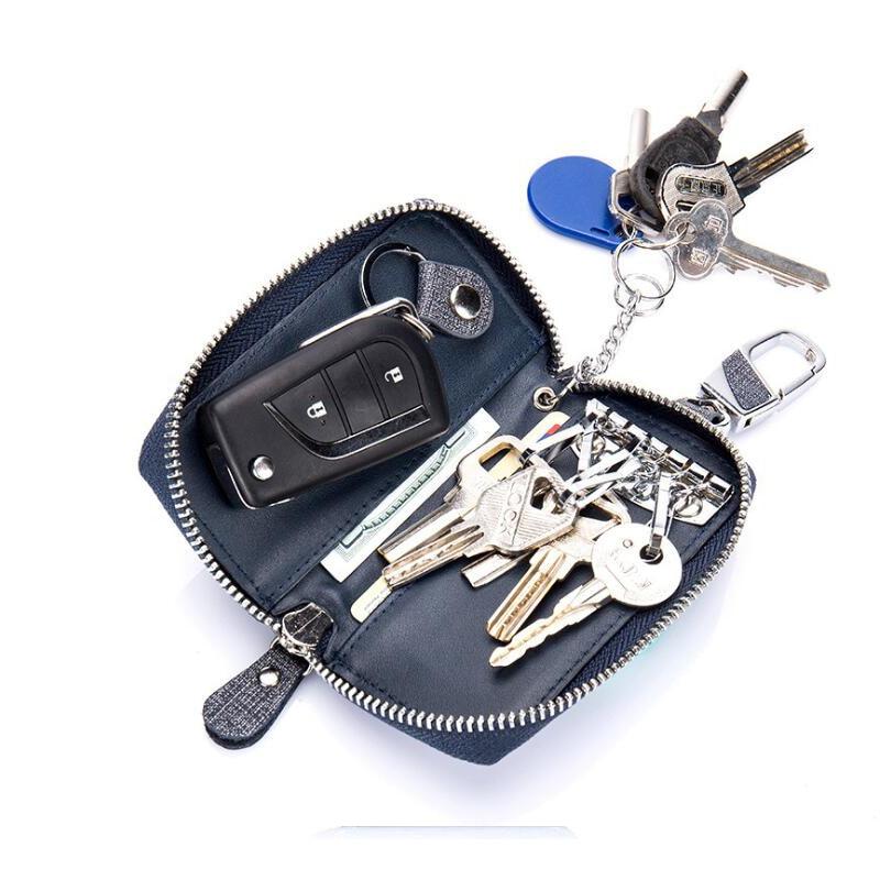 2019 Neuer Stil Denim Multi-zweck Schlüssel Tasche Mann Zipper Echtem Leder Schlüssel Geldbörse Halter Organizer Pouch Mini Karte Tasche Modernes Design