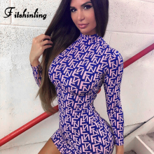 Fitshinling 2019 Autumn New Dress Women Letter Print Turtlenecks Bodycon Dresses Long Sleeve Sexy Vestidos Street