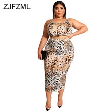 цены Leopard Print Plus Size Two Piece Set Summer Clothes For Women O Neck Sleeveless Crop Top And Bandage Mid-Calf Skirt Club Outfit