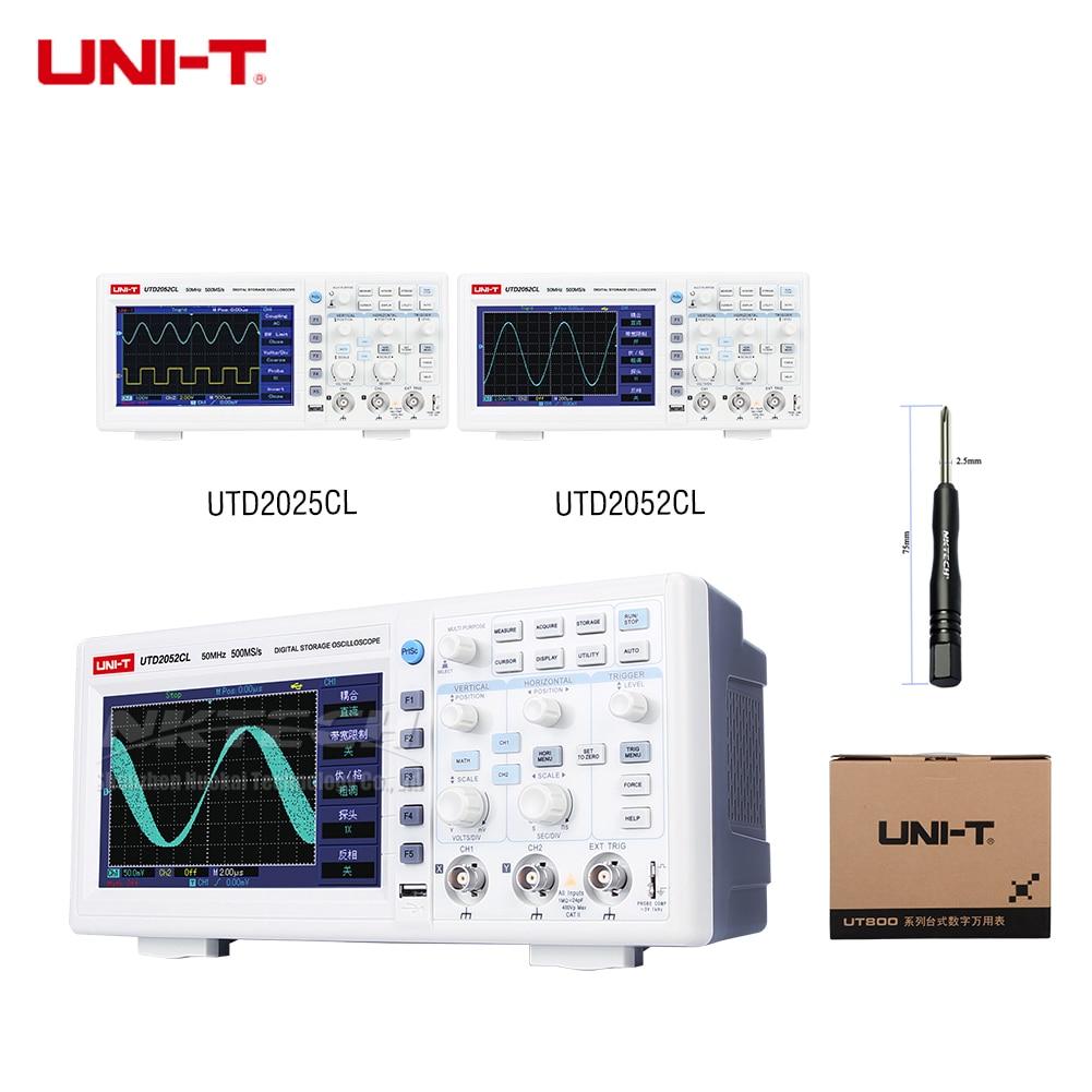 UNI-T UTD2052CL UTD2025CL Digital Storage Oscilloscope 2CH 50/25 mhz Bande Passante Phosphore 7-Pouces TFT 500 ms/s 250 ms/s 25 kpts USB OTG