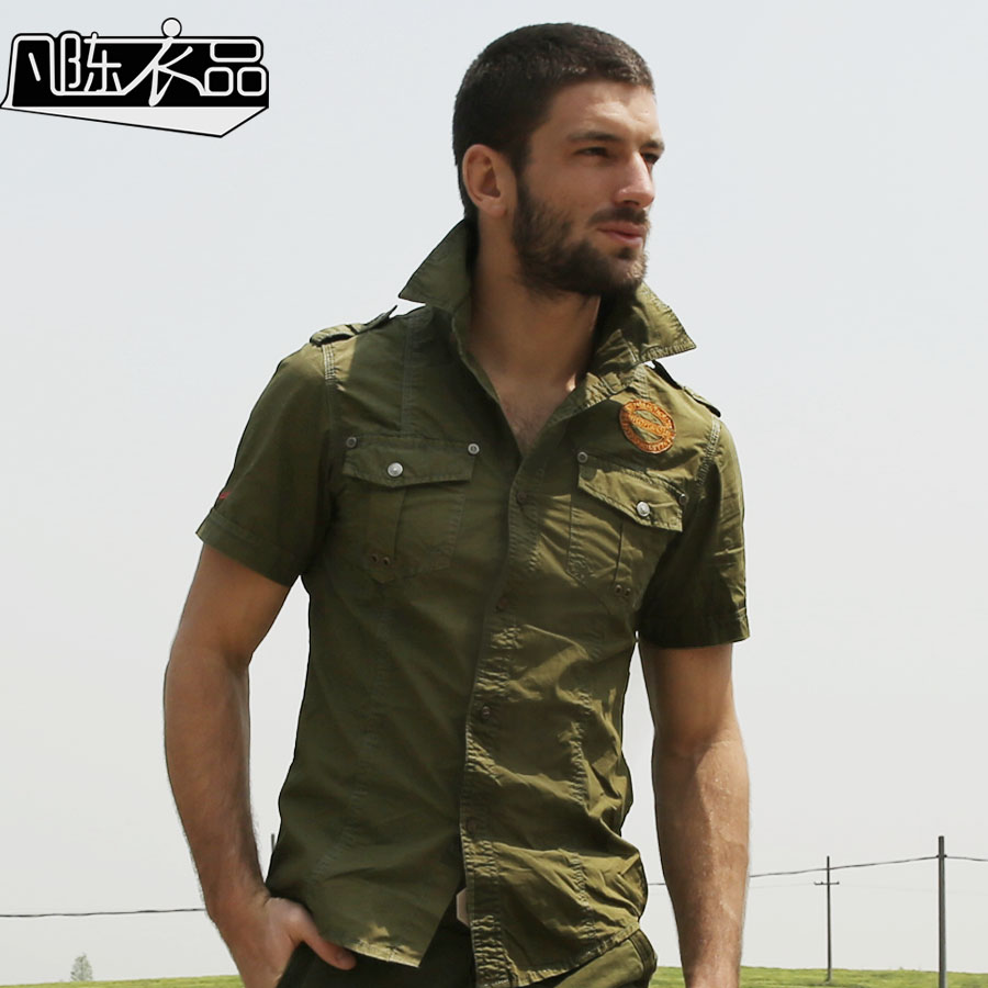 Buy chemise homme men 39 s plus size cotton for Mens military style long sleeve shirts