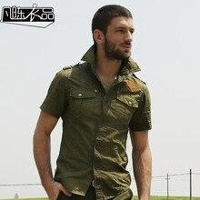 Chemise Homme Männer Plus Größe Baumwolle Hemd Frühling Sommer Military Style Mens Kurzarm Hemd Armee-grün Fracht Shirts A572