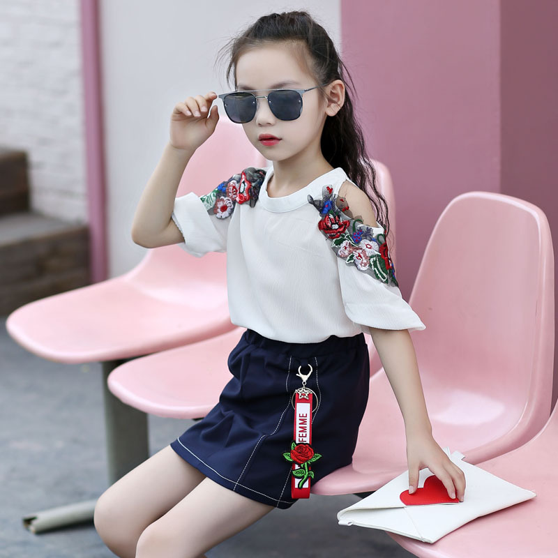 2017 new children's clothing girls embroidery suit skirt children's summer casual suit two-piece sets 4 5 6 7 8 9 10 11 12 years le suit new vanilla textured straight skirt 12 $89 dbfl