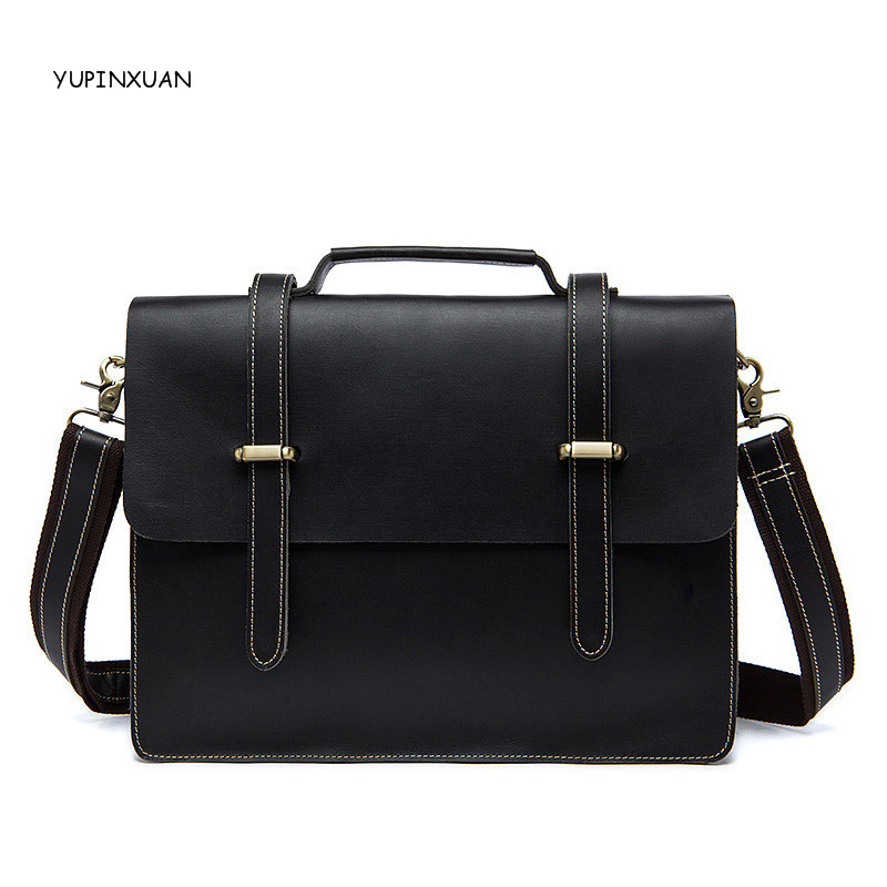 YUPINXUAN Stylish Mens Cow Leather Briefcases Black Genuine Leather Crossbody Bags Businessmen Real Leather Hand bags As Gifts tom tailor tom tailor 103410140302000