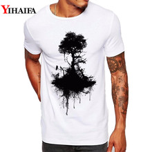 Men T Shirt Slim Fit Black Tree Graphic Tee Forest Trees 3D Print T-Shirts Simple Pattern Casual White Tops men forest print tee