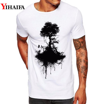 Men T Shirt Slim Fit Black Tree Graphic Tee Forest Trees Gym Print T-Shirts Simple Pattern Casual White Tops casual glasses print tee in white