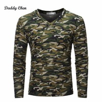Herbst Military Camouflage t-shirt Männer Armee green Kampf Lange hülse Tactical T-shirt V-ausschnitt Camo Mens Tops Tees Hombre T-SHIRT