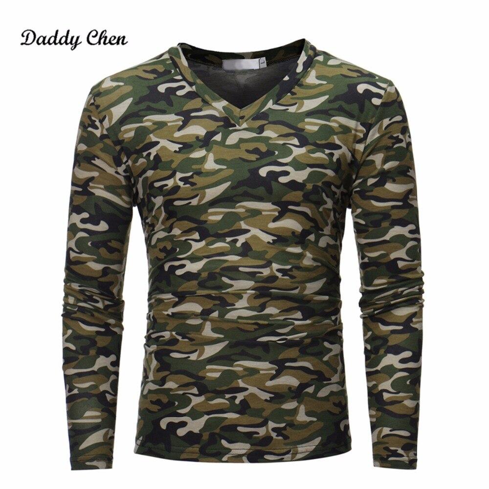 Jesień Wojskowy Kamuflaż t Mężczyzna Bojowe Armii zielony Długi rękaw Tactical Camo Mężczyzna Nakrywa Trójniki TShirt V Neck Hombre T-SHIRT
