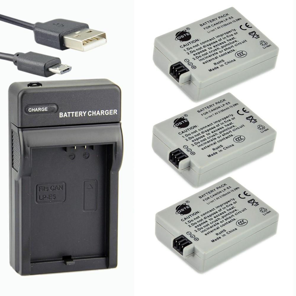 DSTE 3 шт. LP-E5 литий-ионная батарея + usb-порт UDC27 зарядное устройство для Canon 450D 500D 1000D Kiss Digital X2 X3 F Rebel XSi Xli XS
