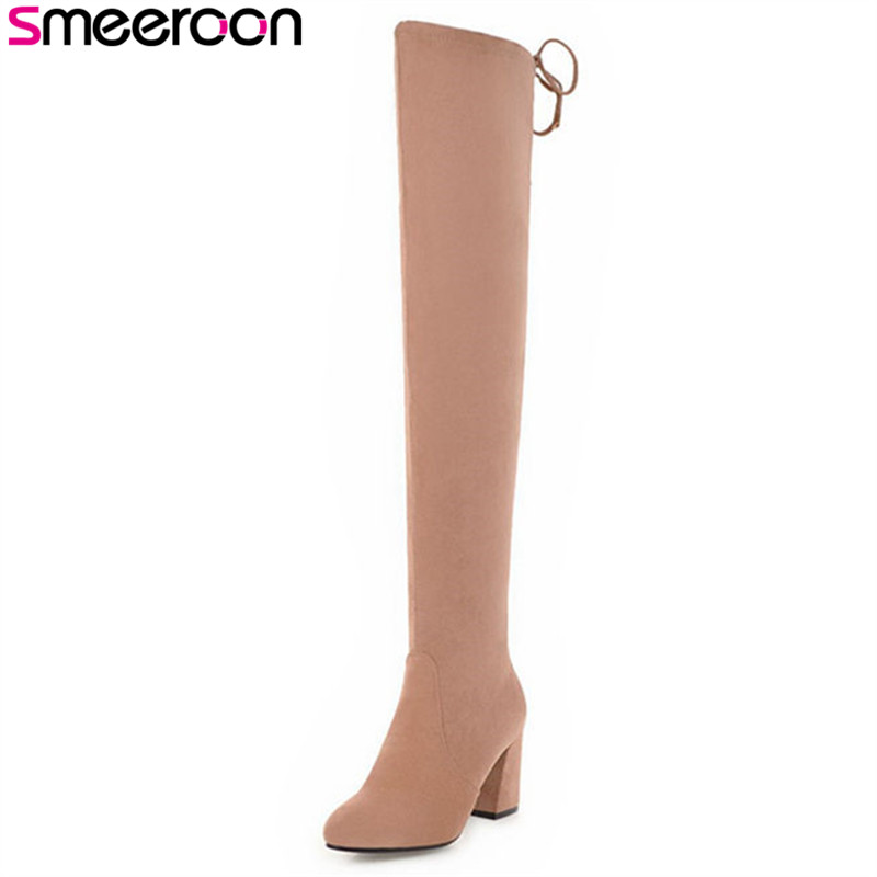 Smeeroon cow suede leather autumn winter boots slip on women boots high heels over the knee boots for women big size 33-43Smeeroon cow suede leather autumn winter boots slip on women boots high heels over the knee boots for women big size 33-43
