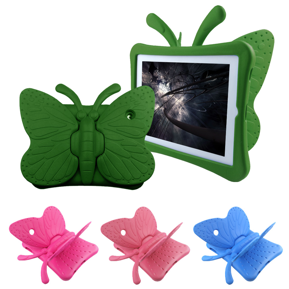 Besegad Shockproof Protector Cartoon Butterfly Stand Holder Case Cover Skin Shell Sleeve For Apple Ipad 2 3 4 9.7 Inch For Kids
