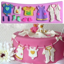 1Pc PREUP Cute 3D Baby Clothes Silicone Fondant Mould Cake Decorating Chocolate Baking Mold Cake Sugar Craft Tools