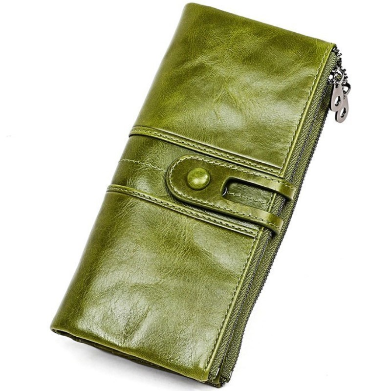 High Quality Cow Leather RFID Wallet Women Hasp Zipper Walets Genuine Leather Female Purse Long Womens Wallets Ladies Clutch