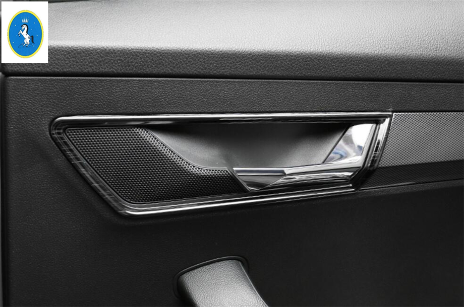 Car Carbon Outer Door Handle Cover Bowl Trim fit For Jaguar XE XF 2016-2018