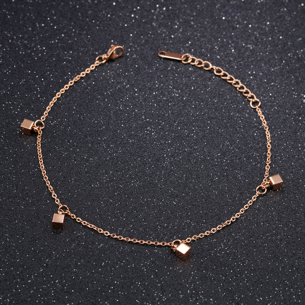 Fate Love Stylish Love Cube Link Anklets For Women Rose Gold Color Stainless Steel Ladies Female Foot Chain Jewelry Never Fade Jewelry & Accessories