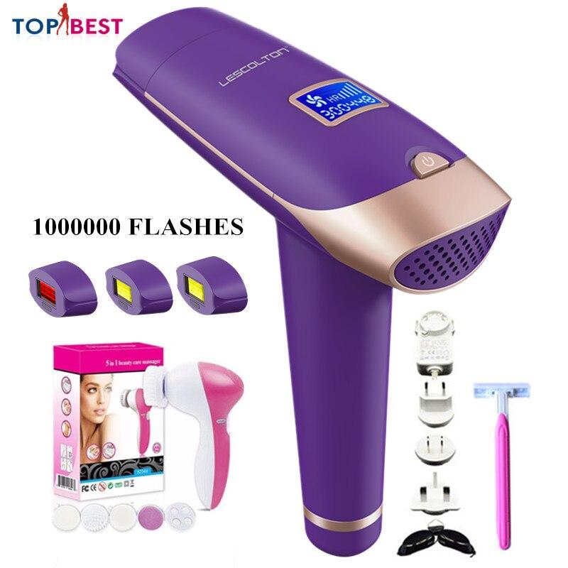 Depilador feminino lady shaver depilatório display lcd máquina a laser permanente biquíni aparador elétrico depilador