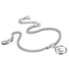 Новая мода серебряный кулон браслеты. Женщины твердые 925 серебряные браслеты. Милые девушки колокол браслеты. Очаровательная леди серебро ювелирные изделия