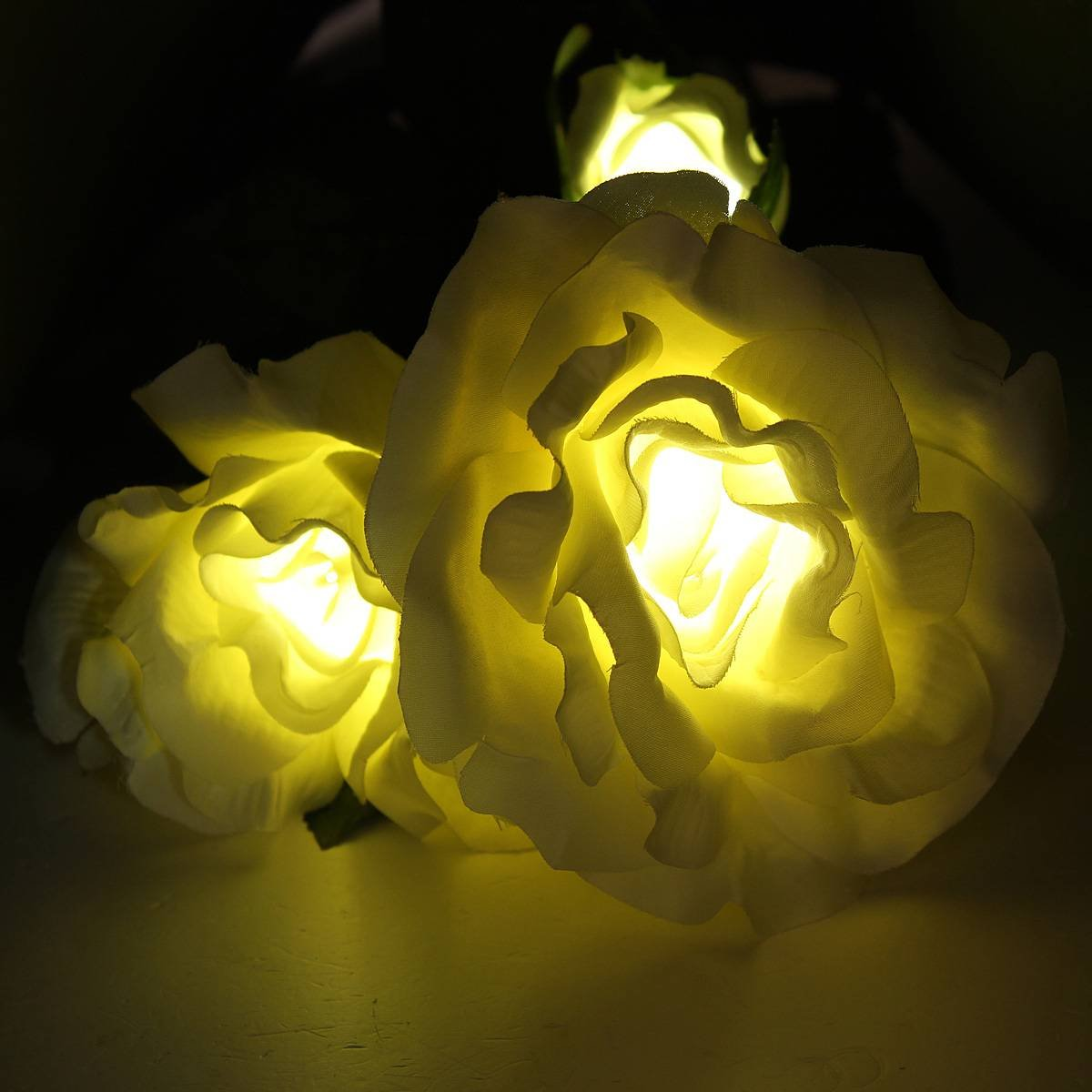 Solar Powered White 3 LED Rose Flower Lights Garden Outdoor Decorative Decor Landscape R ...