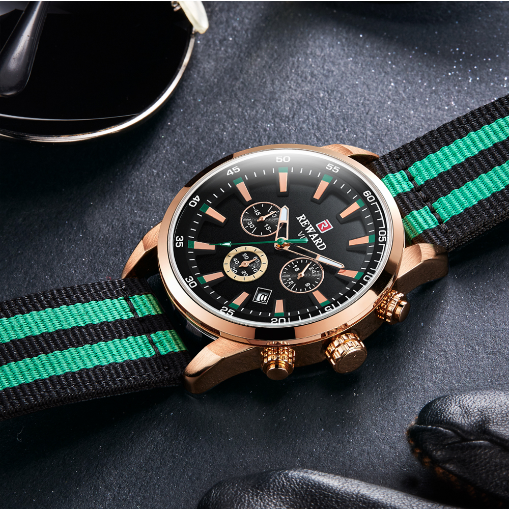 Luminous Hands Chronogragh Watch For Men Top Luxury Brand REWARD Men 39 s Quartz Watches Waterproof Sports Wristwatch Military XFCS in Quartz Watches from Watches