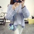 Бесплатная доставка новые зима женщины мода V-образным Вырезом трикотажные свободные нижние свитера и пуловеры Корейской версии потяните femme оптовая