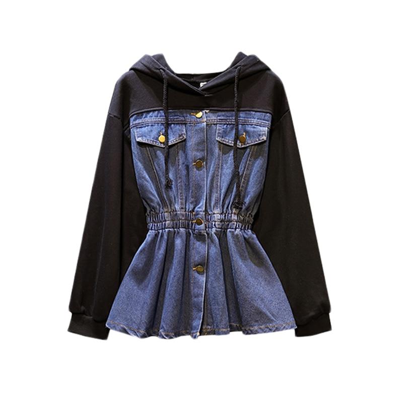 plus size women fat mm spring autumn bf wind splice Hooded jean jacket female denim Korean jacket women tide veste femme coat in Jackets from Women 39 s Clothing